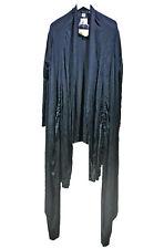 NEW CAVI Black Long Knit Jacket sz L Lagenlook Wrap Adjustable Ruching
