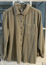 Ll Bean Womens Button Up Beige Wide Whale Corduroy Relaxed Shirt Sz L