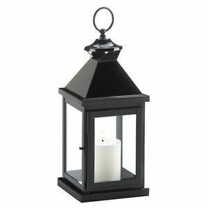 Gallery of Light Glossy Black Metal Candle Lantern-14.25 inches