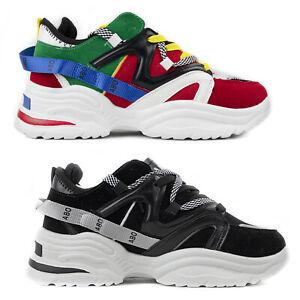 Scarpe Uomo da Ginnastica Sportive Sneakers Alte in eco Pelle Blu 41 42 43 44 45