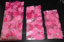 30 Kiss Up Lipstick Print Pink Red Lips Cellophane Gift Party Cello 3 size Bags