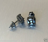 Men's 2ct. Black Cut Round Diamond 925 Fine Silver Screw Back Stud Earrings 6mm