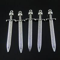 50595 Vintage Silver Alloy Cat Head Sword Jewelry Craft Pendant Charm 10pcs