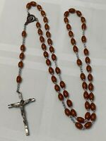 Rosary Marked Italy Religious Crucifix Brown Lucite Beads Catholic Vintage
