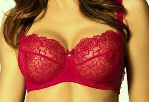 Bra Sheer Lace LUXURIOUS Great Shape Comfortable Lingerie STUNNING  RED