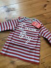 New No Added Sugar Red And Blue Striped Dream Boy Top Age 12 Months Baby