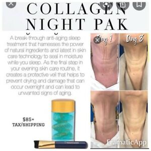 SeneGence Collagen Night Pak Anti-Aging Sleeping Mask w Brush $85 Sealed Moistur