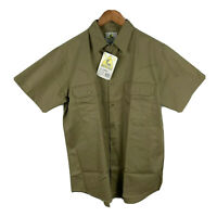 Hard Yakka Mens Button Up Shirt Size Large Khaki Brown Short Sleeve Collared NWT