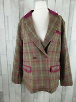 Tayberry Brown Purple Check Tweed Wool Blend Smart Blazer Jacket Size 16