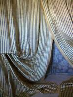 Pair French  Chateau  Silk Curtains  Regency Design Dated c1888 Interlined