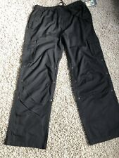 Black Adjustable Length Trousers Cargo Pants NEW With Tags Size L UK 16 18