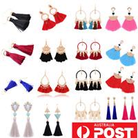Black Blue Red Pink White Fringe Tassel Dangle Tassle Rhinestone Hoop Earrings