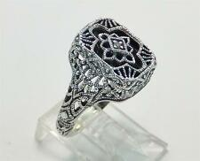 Victorian Art Deco Onyx Diamond Ring Filigree Great Detail .925 Sterling Size 7