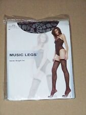 MUSIC LEGS Black Nylon Spider Web Thigh Hi Sexy Holiday office dance work party