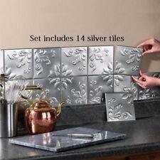 Kitchen Wall Tiles 14 Pcs Tin Backsplash Self Adhesive Floral Strips Home Decor