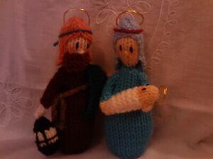 New hand knitted Nativity (Mary Joseph and baby Jesus)