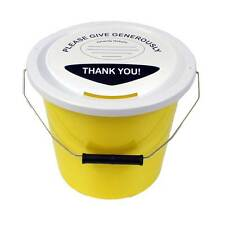 3 Charity Fundraising Money Collection Buckets With Lids Labels & Ties - Yellow