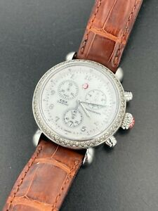 Michele CSX Diamond 0.60 Ctw Chronograph Swiss Watch MW03C01A1025 Leather Strap