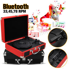Briefcase Record Player Suitcase Vinyl Turntable Bluetooth 3W Speakers 3 Speed