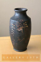 COOL! MADE IN JAPAN ART DECO PORCELAIN VASE! SUPERB PATINA VTG BLACK GOLD NIPPON