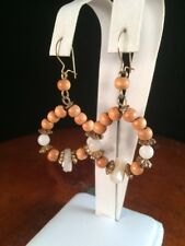 Mother Of Pearl Wooden Bead Dangle Earrings White Shell Boho Gold Tone