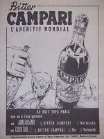 PUBLICITÉ DE PRESSE 1953 BITTER CAMPARI L'APÉRITIF MONDIAL - ADVERTISING
