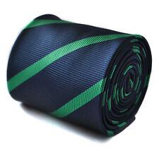 Thomas Frederick Bleu Marine & Vert foncé à rayures homme club ft1608 cravate