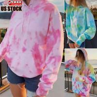 US Women Tie Dye Hooded Sweatshirt Hoodie Long Sleeve Baggy Jumper Pullover Tops