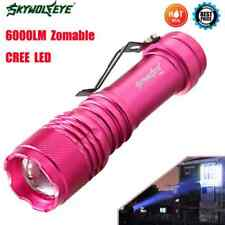 6000LM CREE Q5 AA/14500 3 Modes ZOOMABLE LED Flashlight Torch Lamp Hot Pink