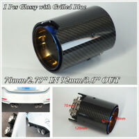 1 Pcs Grilled Blue Stainless+Glossy Carbon Fiber 70mm/2.75'' ID Exhaust Tip Pipe