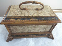 "CASTILIAN IMPORT HINGED TRINKET WOODEN PAINTING BOX 15"" X 9""-RARE"
