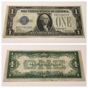 VINTAGE RARE 1928-C SILVER CERTIFICATE $1 FUNNYBACK ONE DOLLAR BILL BLUE SEAL