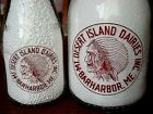 2) TRPQ 1940's MT. DESERT ISLAND Bar Harbor MAINE Quart dairy milk bottle INDIAN