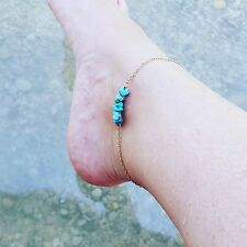 Blue Bead Chain Anklet gold Filled Stone ankle jewellery