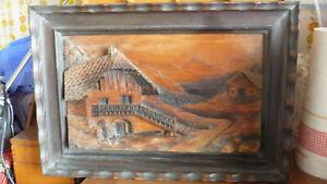 Tableau cadre CHALET montagne bois relief sculpté SIGNÉ G HAULER  30 X 45 CM