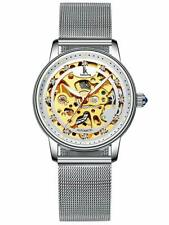 Alienwork IK Skeleton Women's Automatic Watch with Mesh Strap Glass Bottom