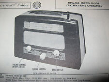 DEWALD D-508 PORTABLE SHORTWAVE RADIO PHOTOFACT