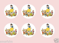 SNOWWHITE and the seven dwarfs 24 CUP CAKES TOPPERS  ICING SUGAR  3.75cm cut out