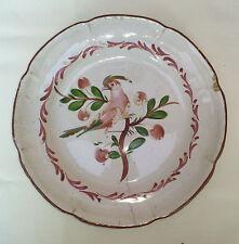 Ancienne assiette en terre vernissé, Provence décor oiseaux, art pop, vintage