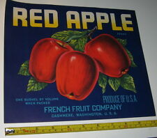 Original Vintage NOS French Fruit Crate/Box Label Red Apple Cashmere Washington
