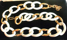 MONET 1955 WHITE&GOLDPLATED CHAIN CHOKER NECKLACE ESTATE JEWELRY  FAB!