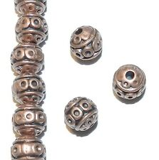 MB367p Antiqued Copper 8mm Round Circle Pattern Metal Alloy Beads 25/pkg