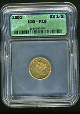 1851 LIBERTY HEAD QUARTER EAGLE $2.5 GOLD ICG F15