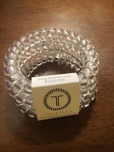 New Teleties 3 Pack Large Hair Ties Bracelets Clear Ponytail Holder