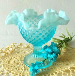 Fenton Compote Bowl Hobnail Glass Blue Opalescent Footed Candy Dish Vintage