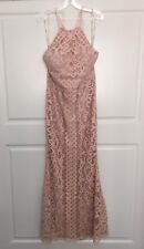 Maxi Lace Dress Size 16 Blush HAlter Long Formal Bridesmaids Wedding Party