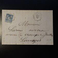 SAGE N°90 LETTRE COVER CACHET AMBULANT ANGOULÊME A LIMOGES 1884