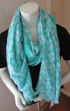NWT Gap Very PrettyTurquoise/ White Printed Cotton/ Linen Scarf/ Wrap W/ Fringe