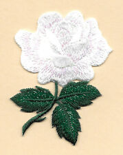 Rose - Flower - Garden - White Rose - Love - Embroidered Iron On Applique Patch