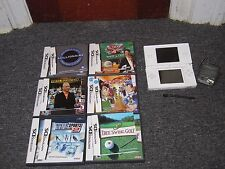 Nintendo DS Lite Polar White Video Game System 7 Games and Charger